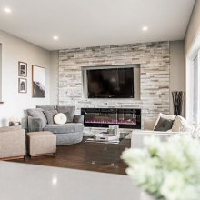 Warm neutrals and wood accents make this space extra cozy!  Come see for yourself at 5605 McKenna Street. We have three model homes open in this mini Harbour Landing parade!  Open Mon -Thurs 7pm-9pm and Sat, Sun and holidays 12-5 #crawfordhomesfortyyearss